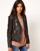 Extended Leather Shoulder Jacket