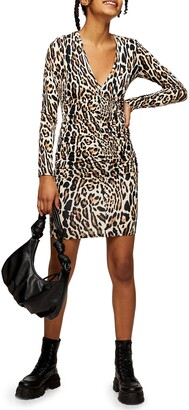Topshop Leopard Ruched Long Sleeve Minidress