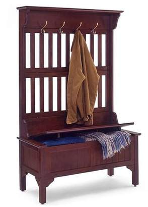 Dmi Furniture Traditional 4-Hook Hall Tree With Storage Bench, Cherry