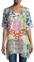 Johnny Was Butterfly Half-Sleeve Printed Tunic, Multi Colors, Plus Size