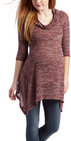Glam Beet & Gold Variegated Cowl Neck Maternity Sidetail Tunic