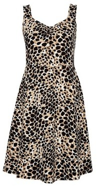 Dorothy Perkins Womens Multi Colour Leopard Print Ruched Fit And Flare Dress