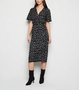 New Look Spot Print Wrap Midi Dress
