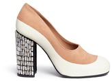 Marni Embellished heel suede and leather pumps