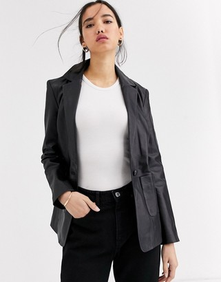 Muu Baa Muubaa boxy blazer style leather jacket-Black