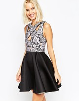Asos Cross Strap Lace Bodice Mini Skater Dress