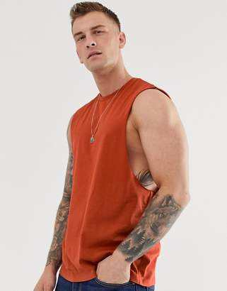 Asos Design DESIGN organic relaxed sleeveless t-shirt with dropped armhole in red