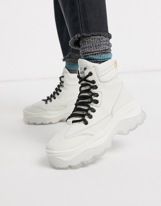 Bronx leather chunky hiker boots in off white