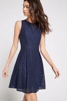 BCBGeneration Honeycomb Lace Flare Dress - Navy