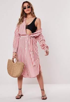 Missguided Stripe Midi Shirt Dress