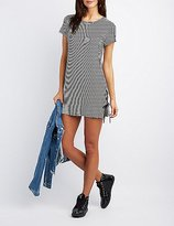 Charlotte Russe Striped Lace-Up Detail Dress