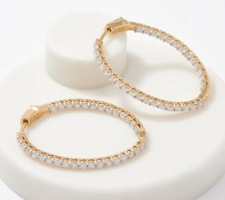 Affinity Diamond Jewelry Affinity 14K Gold Diamond Oval Hoop Earrings, 3.00cttw