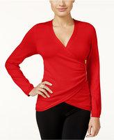 Thalia Sodi Zipper-Trim Faux-Wrap Sweater, Only at Macy's