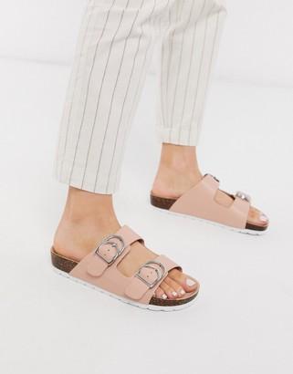 London Rebel double buckle footbed sandal in beige