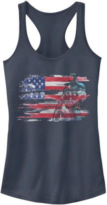 Licensed Character Juniors' Marvel Captain America Painted Flag Portrait Tank