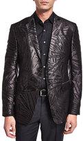 Etro Palm-Print Jacquard Silk Evening Jacket, Black