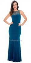 Decode 1.8 Sleeveless Beaded Yoke Fitted Evening Dress