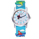 Jewtme Kids' JW0043 fighter Pattern Silicone Strap Cartoon Watch Blue