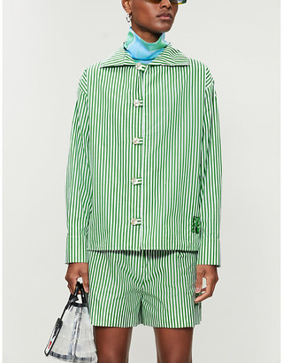 Kenzo Striped relaxed-fit cotton-poplin shirt