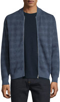 Brioni Zip-Front Check Sweater, Blue Solid