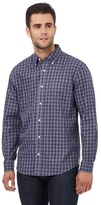 Maine New England Big And Tall Blue Gingham Print Tailored Fit Shirt