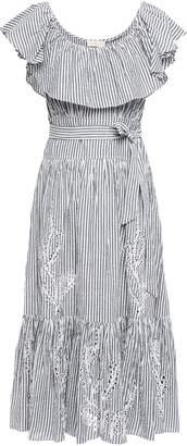 Tory Burch Ruffled Striped Broderie Anglaise Cotton Midi Dress