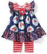 Bonnie Jean Little Girls 2T-4T Bird-Print Dress & Striped Leggings Set