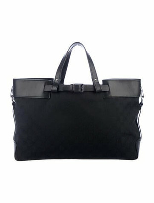 Gucci GG Canvas Leather-Trimmed Tote Black