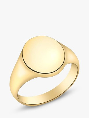 IBB Personalised 9ct Gold Unisex Single Oval Signet Ring, Gold