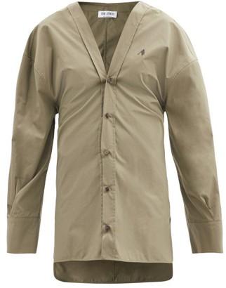 ATTICO Lala V-neck Cotton Shirt Dress - Khaki