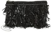 G Lish G-lish Bead & Leather Fringe Crossbody Bag
