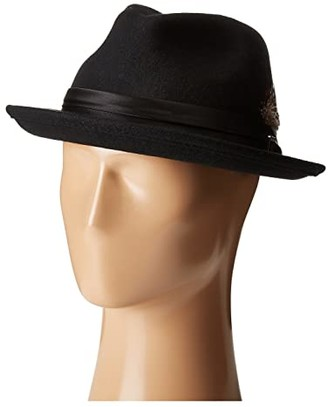 Stacy Adams Crush Wool Felt Fedora (Black) Fedora Hats