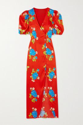 De La Vali Ohio Floral-print Satin Dress - Red