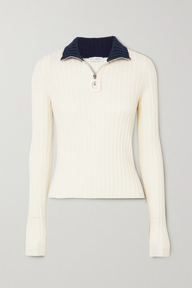 J.W.Anderson Infinity Two-tone Ribbed Merino Wool Sweater - Off-white
