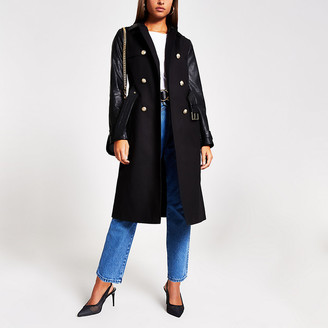 River Island Black faux leather blocked trench coat