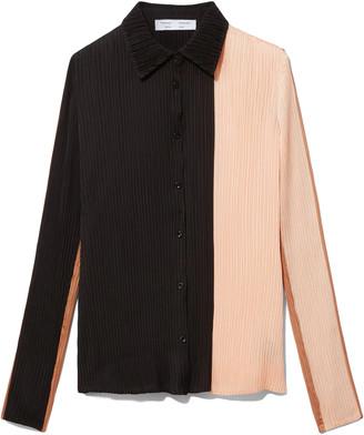 Proenza Schouler Plisse Button Front Top in Cinnamon/Peach/Black