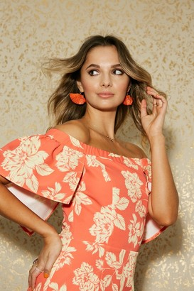 Paper Dolls Lambeth Warm Orange Floral-Print Belted Cape Bardot Dress