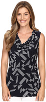 Ellen Tracy Sleeveless Drape Neck Top