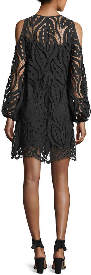 Shoshanna Veretta Cold-Shoulder Lace Guipure Cocktail Dress