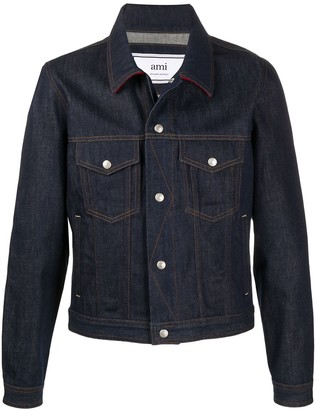 AMI Paris Denim Jacket With Snap Buttons Contrasted Hems And Collar