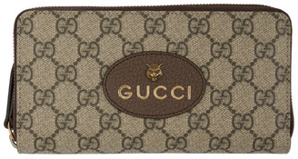 Gucci Beige GG Supreme Tiger Zip-Around Wallet