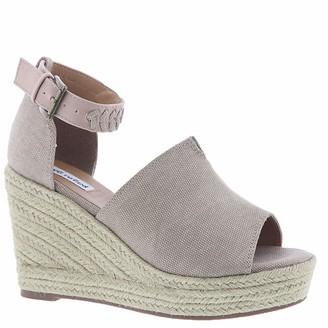 Not Rated Leif Espadrille Wedge Sandal with Canvas Upper and Braided Ankle Strap Detail