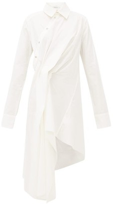 Marques Almeida Marques'almeida - Pintucked-drape Asymmetric Cotton Shirt Dress - Womens - White