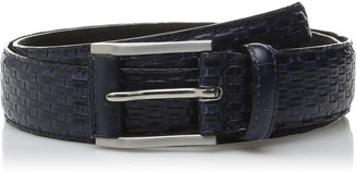 Stacy Adams Men's 32mm Full Grain Leather Top with Embossed Basket Weave Belt