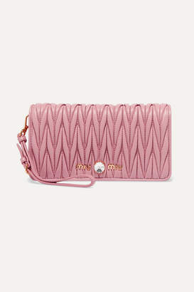 Miu Miu Crystal-embellished Matelasse Leather Clutch