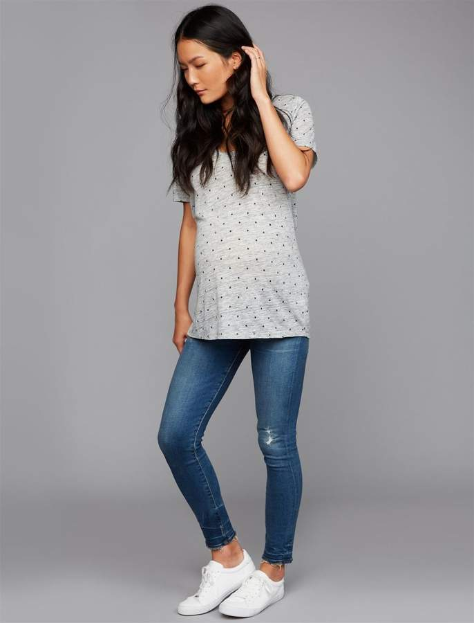 Side Panel Avedon Ankle Maternity Jeans - Destructed