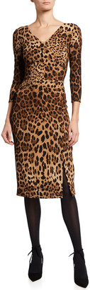 Dolce & Gabbana Leopard-Print Cady Midi Dress