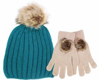 TeddyTs Ladies Luxury Pom Pom Knit Winter Bobble Hat and Pom Pom Gloves (Turquoise Green)