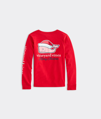 Vineyard Vines Girls' Santa Whale Long-Sleeve Pocket Tee