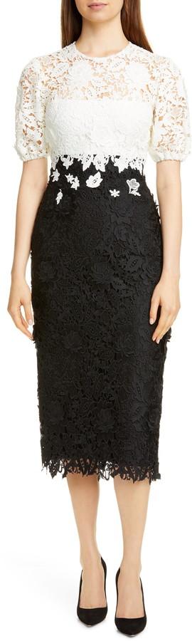 Lela Rose Blouson Sleeve Sheath Dress